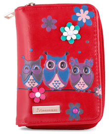 Kukubird Medium Purse 3 owl's floral - Red - Kukubird_UK