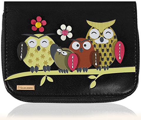 Kukubird Medium Purse Owl Feature Embroidery Patch Family Tree - Black - Kukubird_uk Leggings, Tights