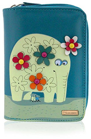 Kukubird Medium Purse Elephant And Mouse Purse - Blue - Kukubird_uk Leggings, Tights