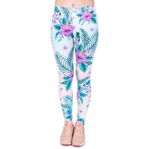 Tropical Pink Flowers Leggings-Kukubird_uk