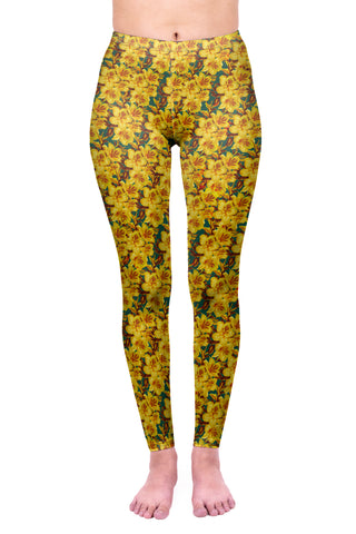 Regular Leggings (8-12 UK Size) - Golden Lillies - Kukubird_uk Leggings, Tights