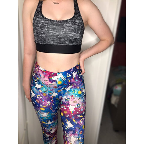 Regular Leggings (8-12 UK Size) - Galaxy Llama - Kukubird_uk Leggings, Tights