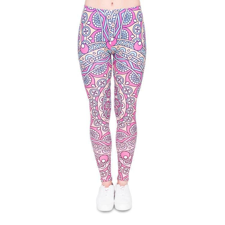 Mandala pink round leggings-Kukubird_uk