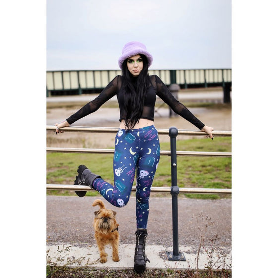 Regular Leggings (8-12 UK Size) - Trick or Treat Navy - Kukubird_UK