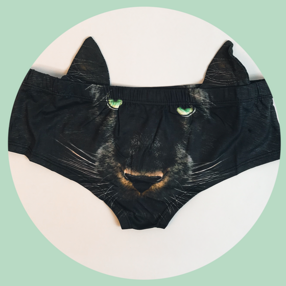 Ear Pantie - Panther (6-10 UK Size) - Kukubird_UK