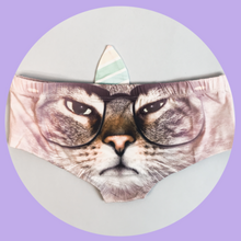 Horn Pantie - Grumpy Glasses Caticorn (6-10 UK Size) - Kukubird_UK