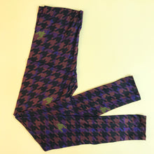 Regular Leggings (8-12 UK Size) - Magenta Dogtooth