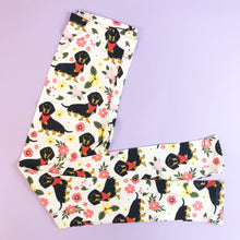 Regular Leggings (8-12 UK Size) - Floral Dachshunds with Scarves