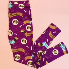 Regular Leggings (8-12 UK Size) - Purple Dachshunds