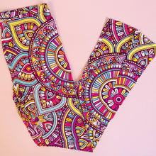 Regular Leggings (8-12 UK Size) - Mandala Yellow - Kukubird_UK