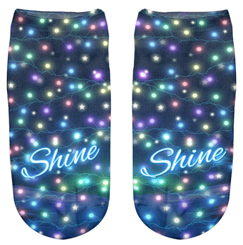 Ankle Socks - Christmas Lights - Kukubird_uk Leggings, Tights