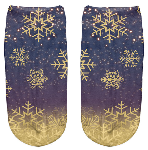Ankle Socks - Golden Snowflake - Kukubird_uk Leggings, Tights