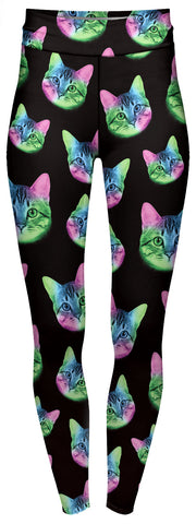 High Waist Leggings 'NEON CAT'  (10-14 UK size)