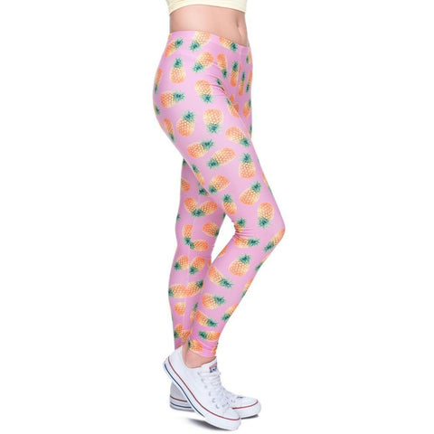 Pineapple Pink Leggings-Kukubird_uk