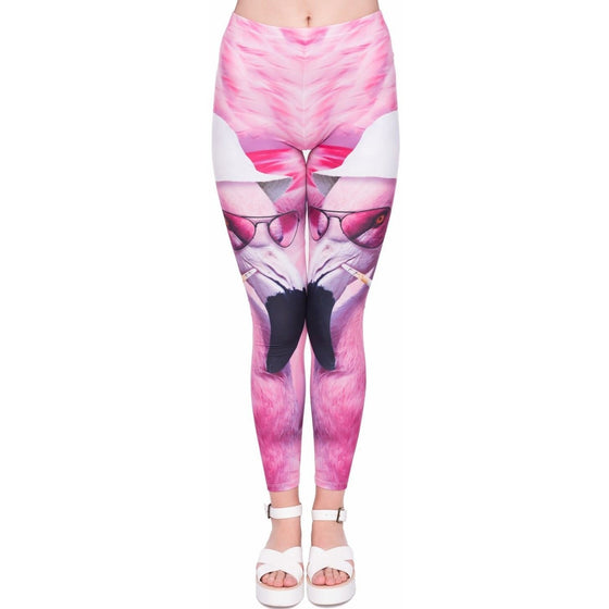 Regular Leggings (8-12 UK Size) - Las Vegas Flamingo - Kukubird_UK