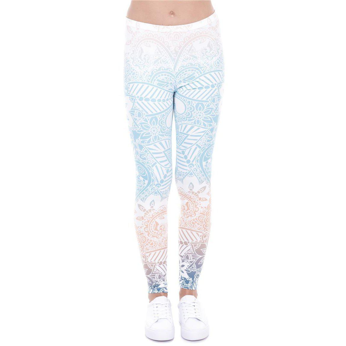 Mandala Mint Leggings-Kukubird_uk