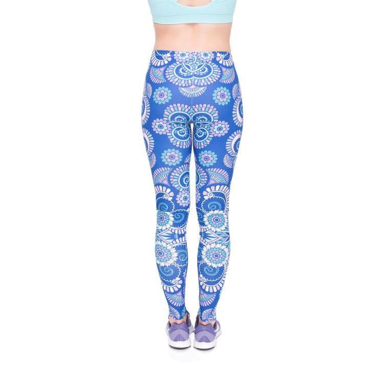 Mandala Purple Flowers Leggings-Kukubird_uk