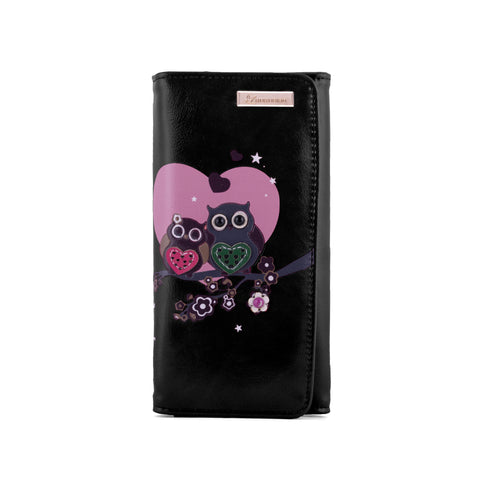 Kukubird Large Purse 2 owl's love - Black - Kukubird_uk Leggings, Tights