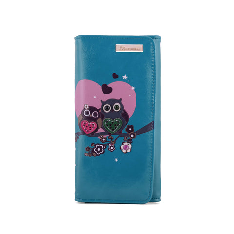 Kukubird Large Purse 2 owl's love - Blue - Kukubird_uk Leggings, Tights