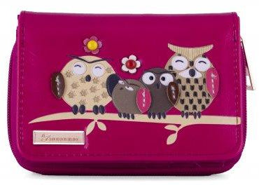 Kukubird Medium Purse Owl Feature Embroidery Patch Family Tree - Fuchsia - Kukubird_uk Leggings, Tights