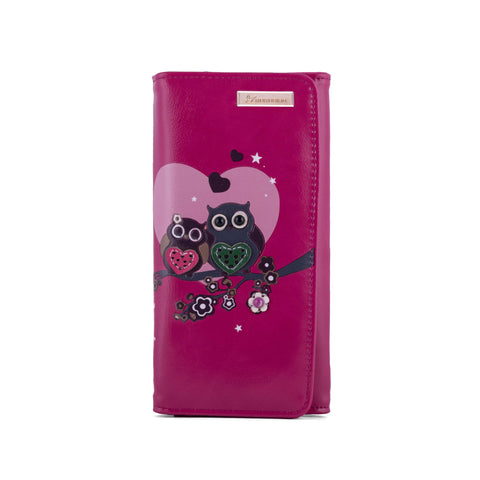 Kukubird Large Purse 2 owl's love - Fuchsia - Kukubird_uk Leggings, Tights