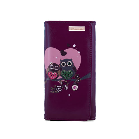 Kukubird Large Purse 2 owl's love - Purple - Kukubird_uk Leggings, Tights