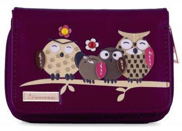 Kukubird Medium Purse Owl Feature Embroidery Patch Family Tree - Purple - Kukubird_uk Leggings, Tights