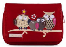 Kukubird Medium Purse Owl Feature Embroidery Patch Family Tree - Red - Kukubird_UK