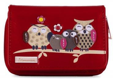 Kukubird Medium Purse Owl Feature Embroidery Patch Family Tree - Red - Kukubird_uk Leggings, Tights