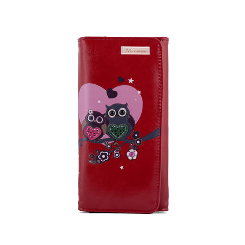 Kukubird Large Purse 2 owl's love - Red - Kukubird_uk Leggings, Tights