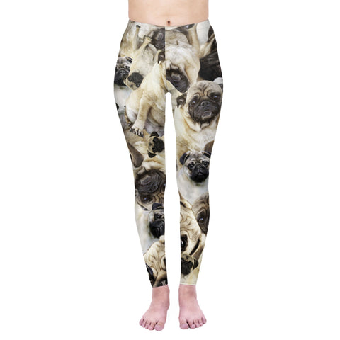 Pug Pile - Kukubird_uk Leggings, Tights