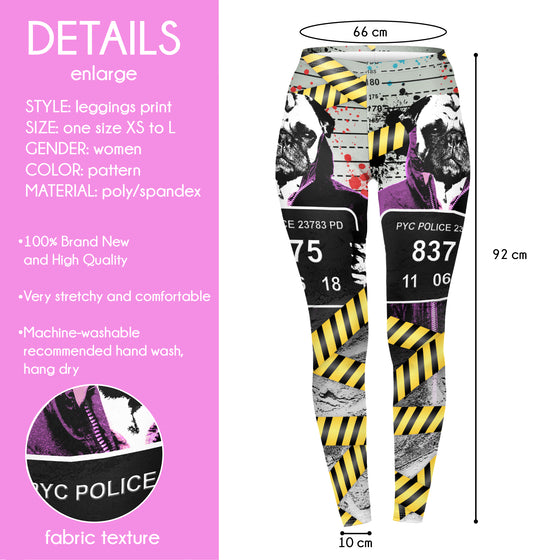 Regular Leggings (8-12 UK Size) - Pug Shot - Kukubird_UK