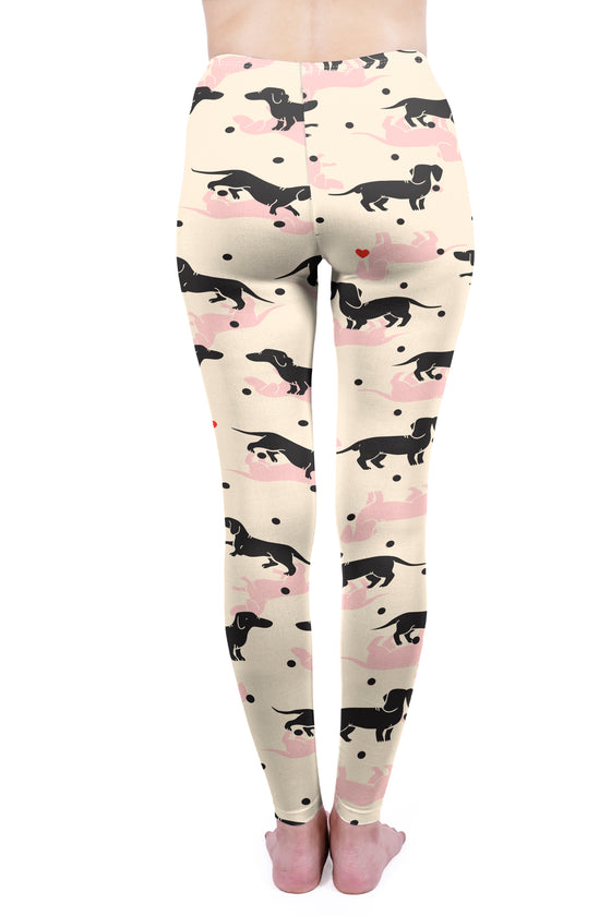 Regular Leggings (8-12 UK Size) - Love Polka Dot Dachshunds - Kukubird_UK