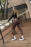 Regular Leggings (8-12 UK Size) - Red Scribble Check - Kukubird_UK