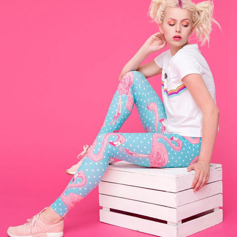 Regular Leggings (8-12 UK Size) - Flamingo Dots - Kukubird_uk Leggings, Tights
