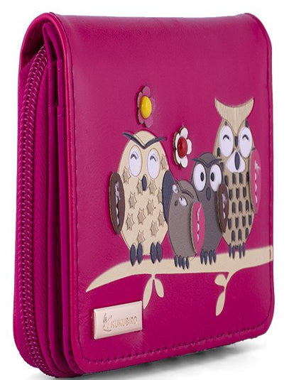 Kukubird Medium Purse Owl Feature Embroidery Patch Family Tree - Fuchsia
