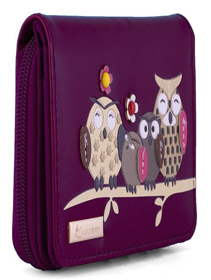 Kukubird Medium Purse Owl Feature Embroidery Patch Family Tree - Purple