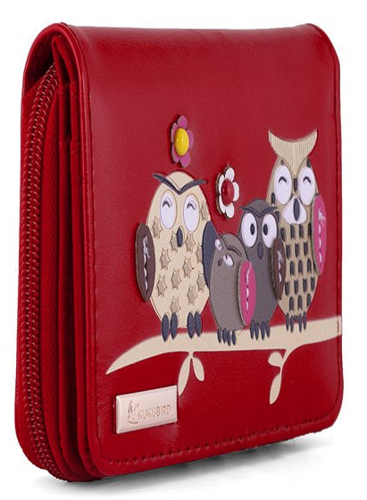 Kukubird Medium Purse Owl Feature Embroidery Patch Family Tree - Red