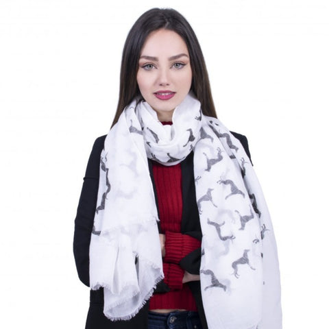 Greyhound Dog Scarf - White - Kukubird_uk Leggings, Tights