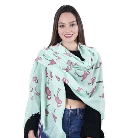 Flamingo Scarf -  Mint Green - Kukubird_uk Leggings, Tights