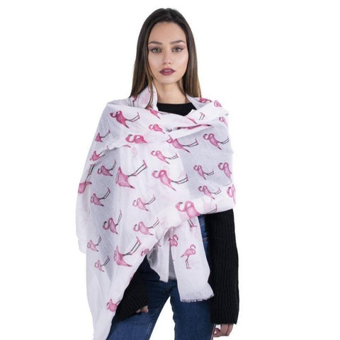 Flamingo Scarf - White - Kukubird_uk Leggings, Tights