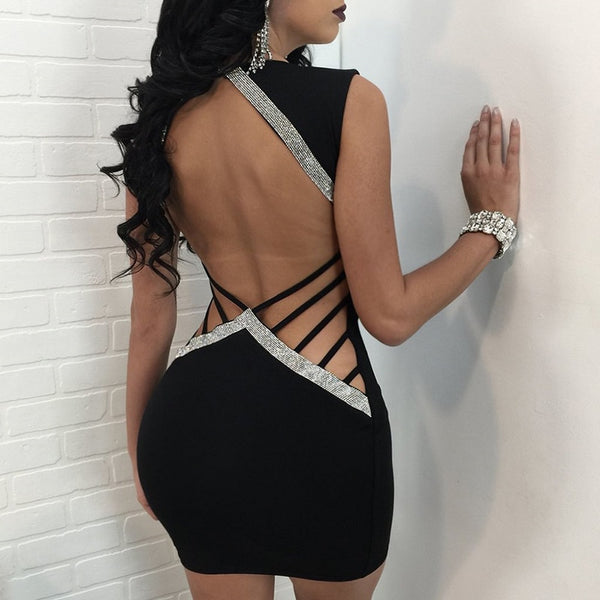 6493528e76f3 2018 Bodycon Dress sexy club wear women Hollow Out Sequins V Neck Slim Dresses  Summer Party ...