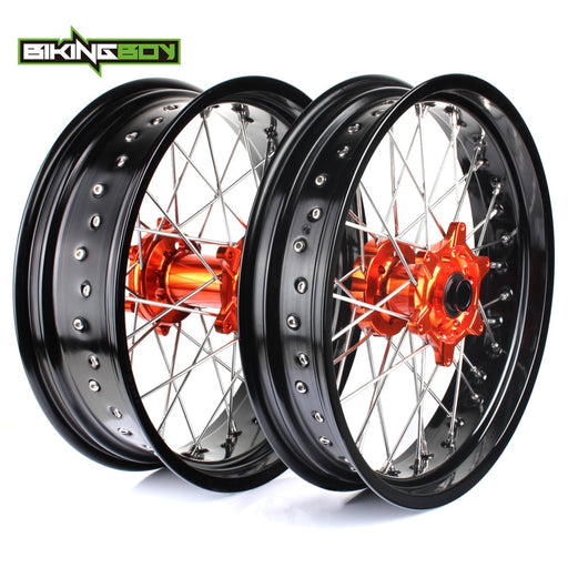 "3.5*17"" 5.0*17"" Front Rear MX Supermoto Orange Wheels Rims Hub for KTM SX MXC XC GS SXS EXC XCW EXCF SXSF XCG 125-540 HUSABERG"