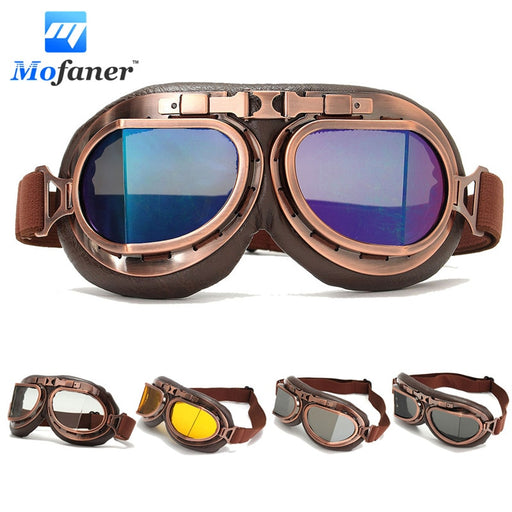 Mofaner Motorcycle Bicycle Ski Goggles Retro Riding Glasses Copper Coffee Frame Motorbike Helmet Glasses For Harley Cafe Racer