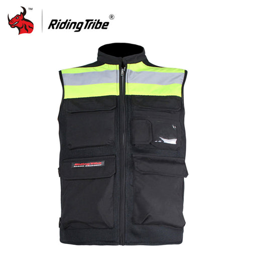 Riding Tribe Sleeveless Motorcycle Vest Protective Gear Motocross Jacket Safety Motorbike Reflective Jacket Night Riding Vest