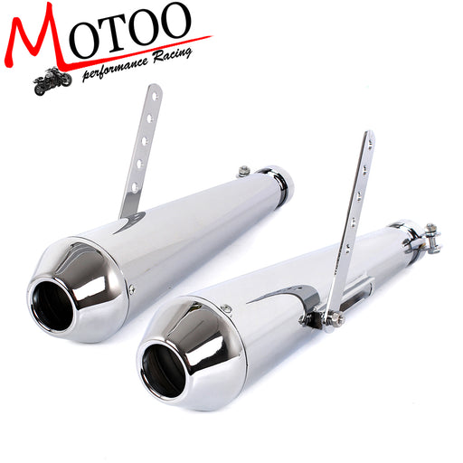 Motoo - Universal Retro Vintage Electroplating Chrome Motorcycle Exhaust Pipe 2 piece Muffler Silencer Heat Cover Heel Guard