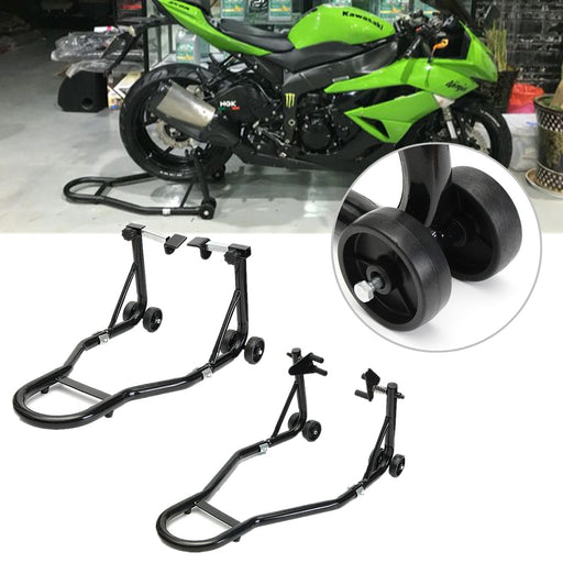 Lift + Stand Rear Steel Motorbike Motorcycle Heavy Duty Front Paddock Under Fork with 4 Roll-able Wheels Convenient Disassembles