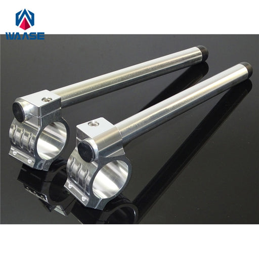 "waase 7/8"" 22mm CNC Handlebar Clip Ons Fork Handle Bars Grips 50MM 51MM 52MM 53MM 54MM 55MM Silver For Yamaha For Suzuki"