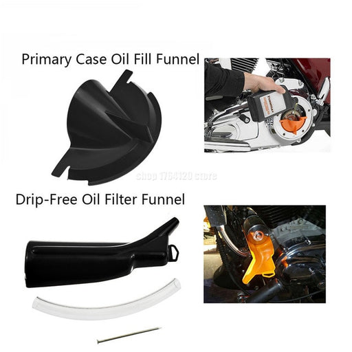 "Primary Case Oil Fill +Drip-Free Oil Funnel+9"" Crankcase Fill Funnel For Harley Sportster 883 1200 48 Softail Dyna Touring"