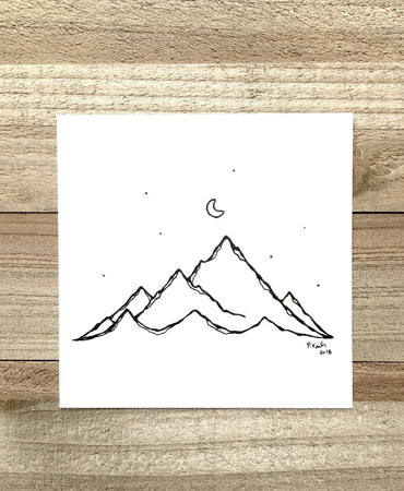 Mountain & Moon 4x4 Art Print